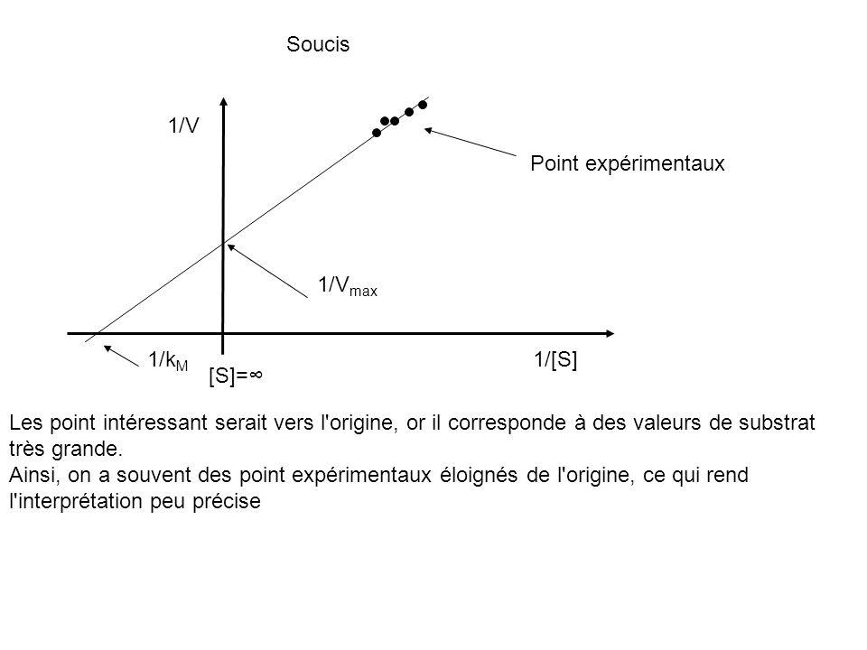 Soucis 1/V. Point expérimentaux. 1/Vmax. 1/kM. 1/[S] [S]=∞